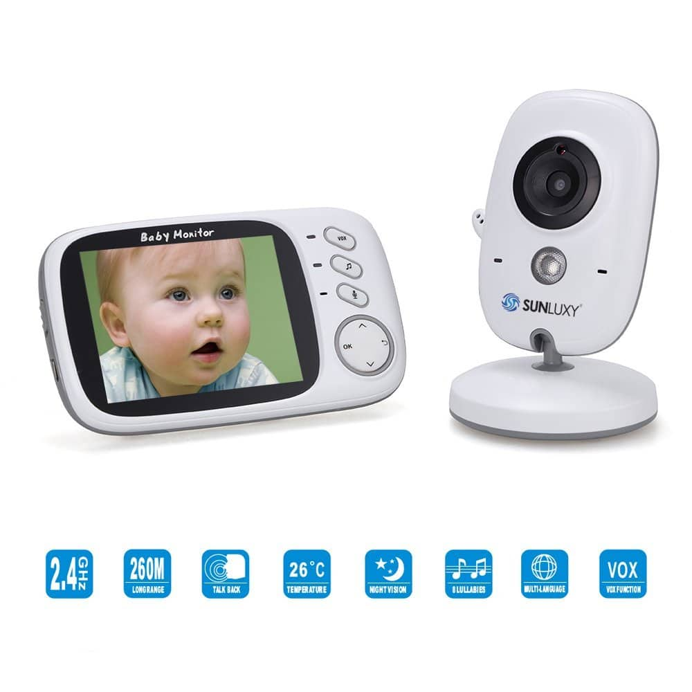 SUNLUXY 3,2 Zoll Farb Wireless Baby Monitor Babyphone Bild